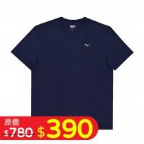 印花圓領棉T-藍