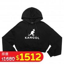 KANGOL 女短版帽T-黑